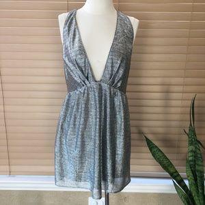 EXPRESS Plunging Neckline Metallic Dress